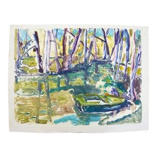 """Martha Holden """"Summertime Fishing"""" Monoprint"""