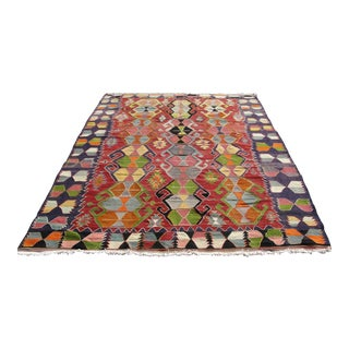 Vintage Turkish Kilim Rug - 6′7″ × 9′9″