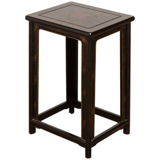 Chinese Black Lacquer Pedestal Table or Stool