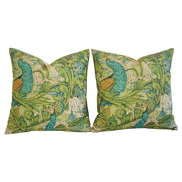 Lush Floral & Peacock Linen Pillows- A Pair - Image 8 of 8
