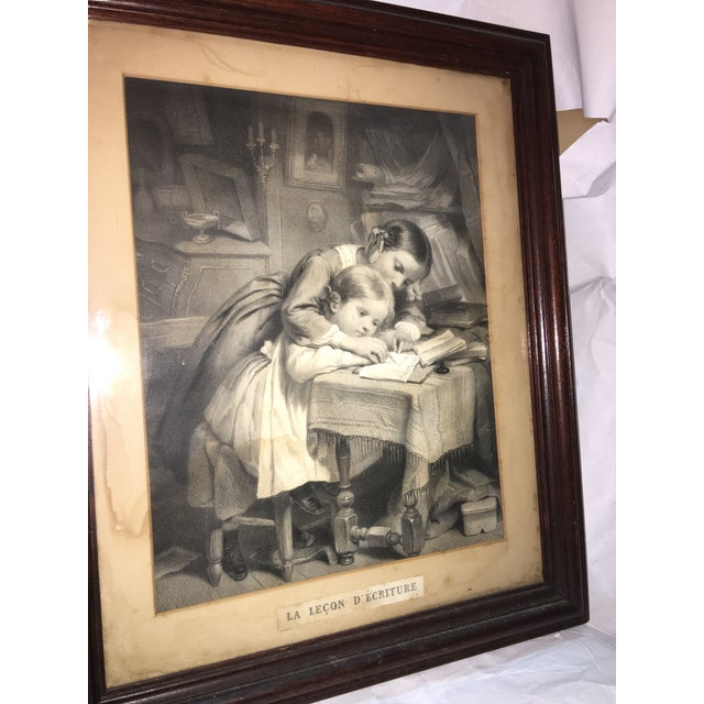"Image of 19th Century ""The Writing Lesson"" Lithograph"