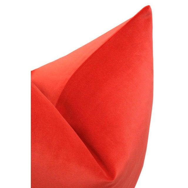"20"" Vermillion Red Velvet Pillows - A Pair - Image 4 of 5"