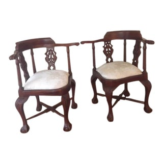 Mahogany Wood Silk Cushion Corner Chairs - a Pair