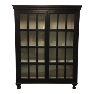 Crate & Barrel Wood Cabinet With Glass-Pane Doors