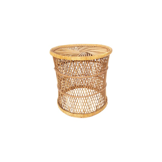 Vintage Rattan Stool Plant Stand - Image 1 of 5