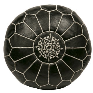 Embroidered Leather Pouf in White on Black (Stuffed)