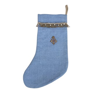 Holiday Appliqued Silver Flower Christmas Stocking