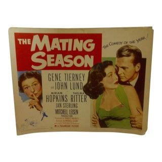 "Vintage Movie Poster ""The Mating Season"" Gene Tierney & John Lund - 1951"