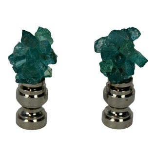 Fluorite Mineral Table Lamp Finial Pair