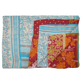 Vintage Turkish Blue & Orange Kantha Quilt
