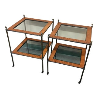 Vintage Wood, Glass & Brass Side Tables - A Pair