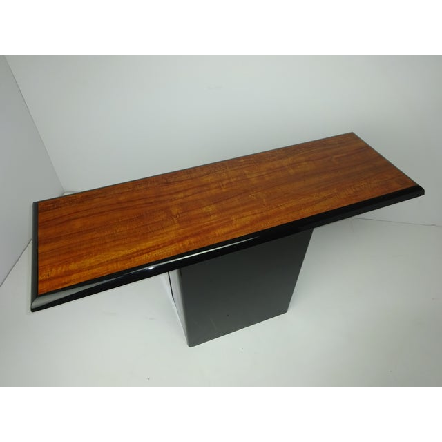 Image of T Shaped Black & Wood Grain Console