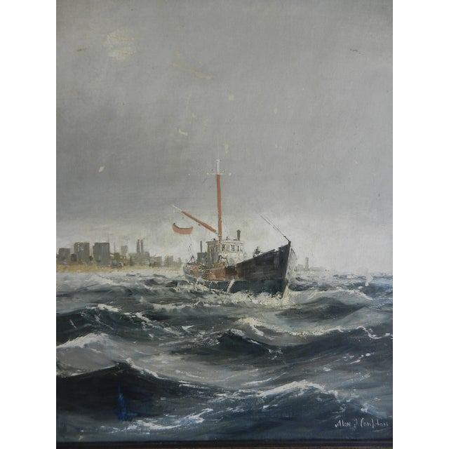 Image of Framed Oil Seascape Painting