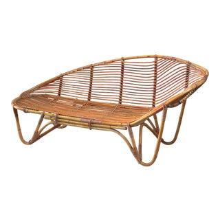 Swedish bamboo and rattan chaise longue, 1940s