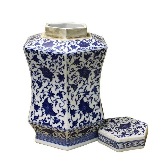 Chinese Blue & White Hexagon Porcelain Jar - Image 4 of 6
