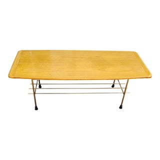 Mid-Century Coffee Table With Metal Lower Shelf