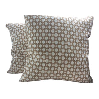 Schumacher Betwixt Pillows in Biscuit Brown & White Woven - a Pair