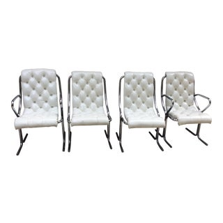 Daystrom Chrome and Tufted Vinyl Dining Chairs - Set of 4