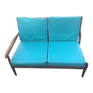 Mid-Century Modern Turquoise Bench