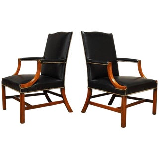 Famous Black Leather Mahogany Gainsborough Library Chairs - a Pair