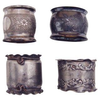Eclectic Silverplate Napkin Rings- Set of 4