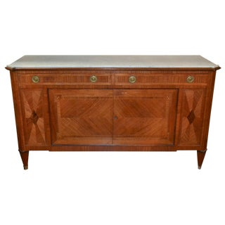 French Inlaid Buffet w Carrara Marble