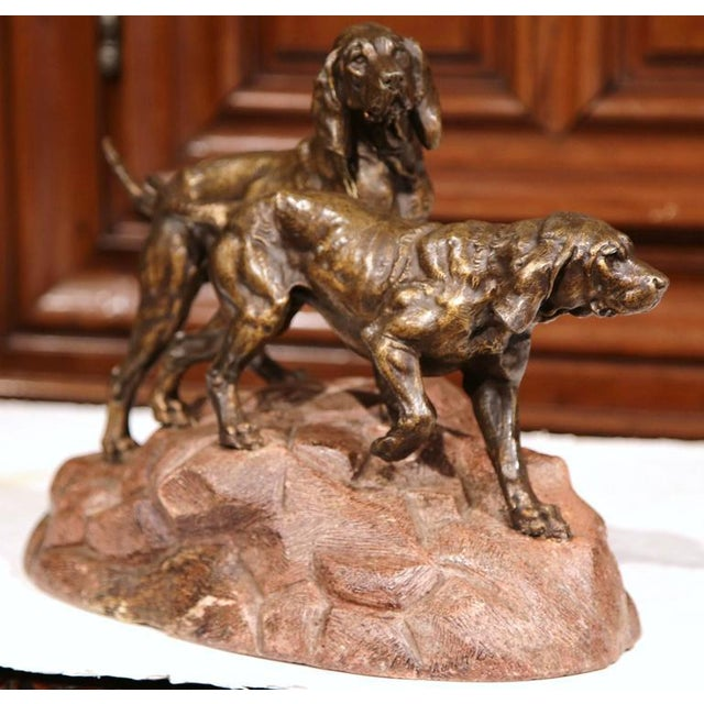 19th Century French Patinated Spelter Hunting Dog Sculpture - Image 2 of 9
