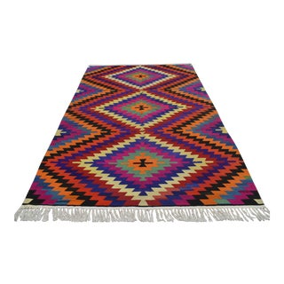 Turkish Antalya Barak Kilim Hand Woven Area Rug - 5′10″ × 9′1″