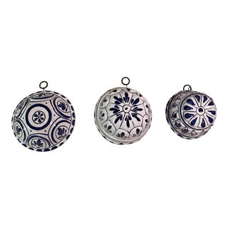 Vintage Blue & White Decorative Ceramic Molds - Set of 3