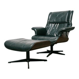 Vintage Bent Wood Lounge Chair & Ottoman