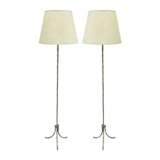 Near-Pair of French Faux Bamboo Floor Lamps by Baguès