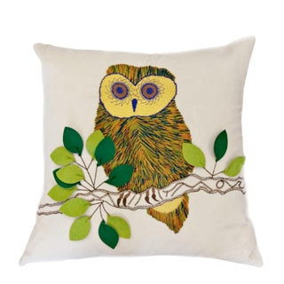 Loloi Embroidered Owl Pillow