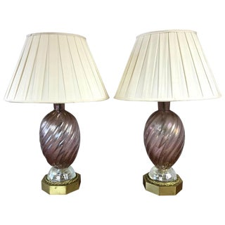 Barovier E Toso Murano Glass & Brass Table Lamps - A Pair