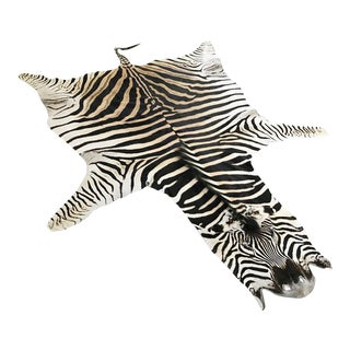 "Natural Zebra Hide Rug - 7'6"" x 6'"