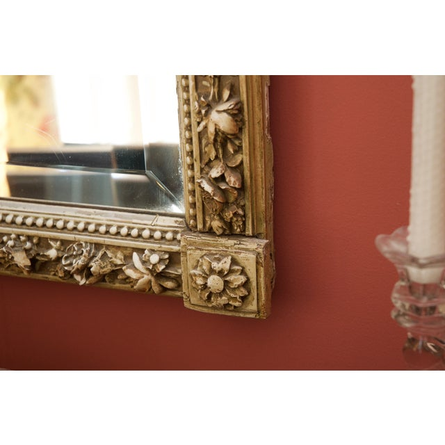 Carved Gilded Wall Mirror With Porcelain Cartouche - Image 3 of 5