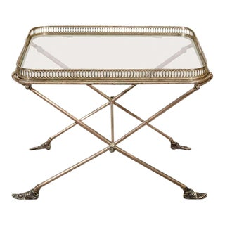 Figural Italian Silvered Bronze & Glass Tray Table