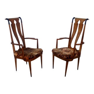 Vintage Burl Wood and Brass Arm Chairs - a Pair