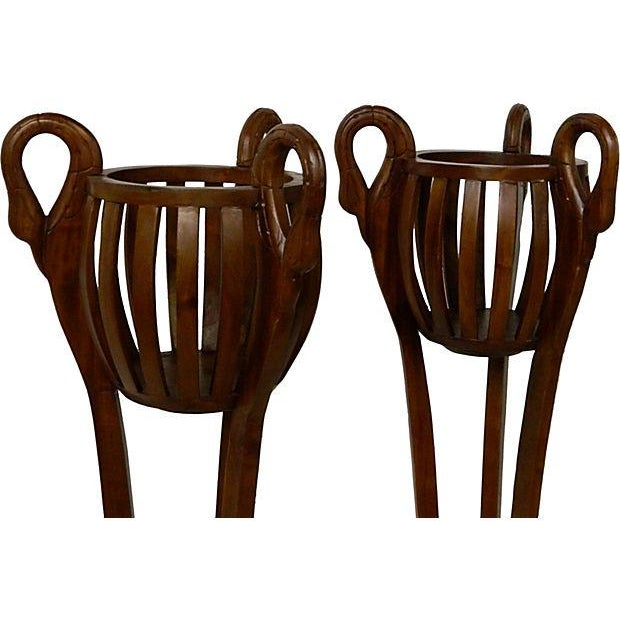 Image of Tall Wood Carved Swan Planters - Pair