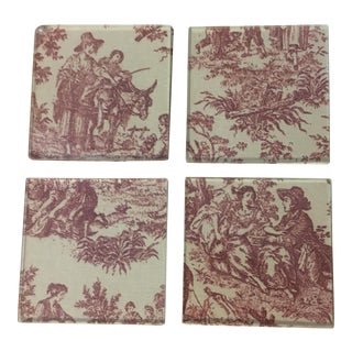 French Toile Glass Coasters - Set of 4