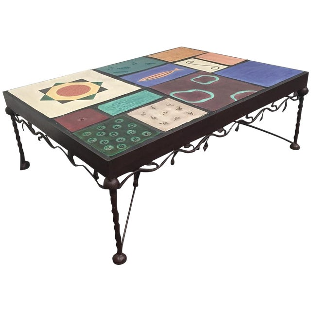 Wrought Iron Mosaic Tile Coffee Table Chairish