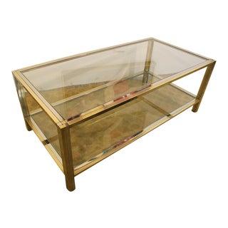 Mid-Century Modern Brass & Chrome Coffee Table