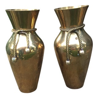 Vintage Brass Vases With Rope Tie - A Pair