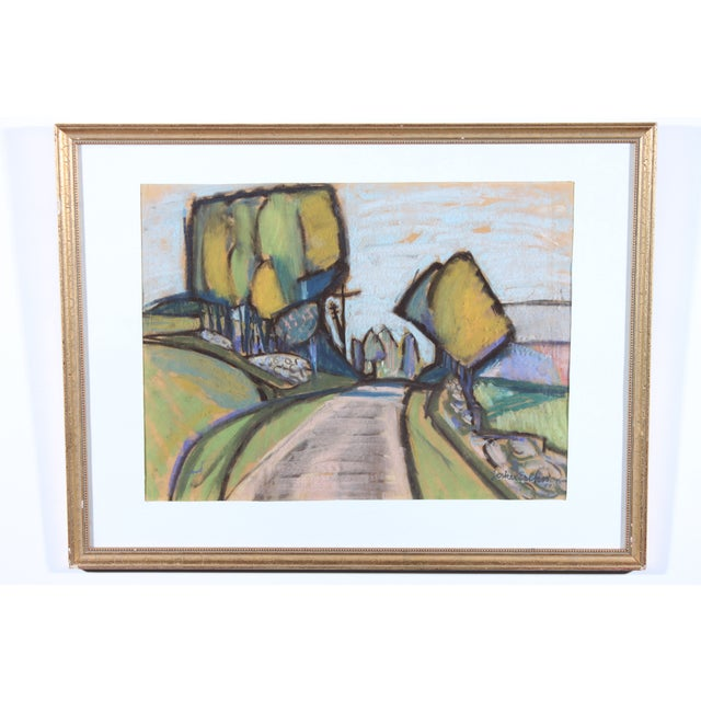 J. Eriksson Road to Summer House Pastel Drawing - Image 2 of 3