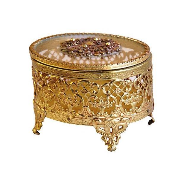 1940s Brass & Glass Jewelry Trinket Box - Image 1 of 6