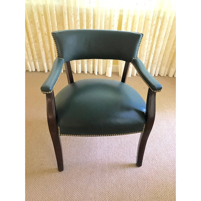 Mid Century Studded Green Leather Library Club Chair - Image 3 of 8