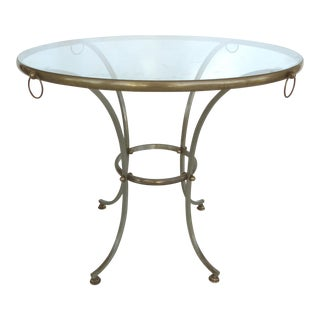 Mid-century Round Steel & Bronze Center Table