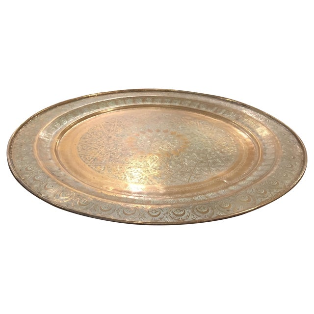 Moroccan Brass Tea Table - Image 1 of 6