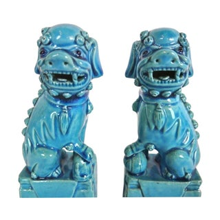 Vintage 1960s Turquoise Blue Ceramic Foo Dogs - A Pair