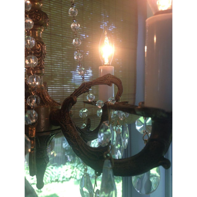 Petite Brass and Crystal 4 Light Chandelier - Image 6 of 7