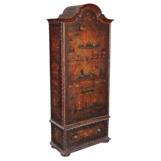 19th c. English Painted Leather Cabinet